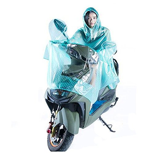 Haodasi Femmes Hommes Motocyclette Scooter Imperméable Rainwear Poncho Hooded green