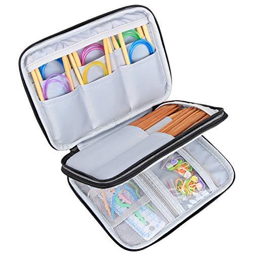 Luxja Stricknadeln Tasche (bis zu 8 Zoll), Organizer Tasche für Rundstricknadeln, 8 Zoll Stricknadeln und anderes Zubehör für Zuhause und Reisen (Keine Zubehör enthalten), Grau