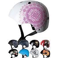 Skullcap® Casco BMX - Casco Skate - Casco Bici, Casco Niña, Blanco Brillante, Talla S, Mandala