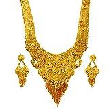 #3: Mansiyaorange Party Wedding Wear One Gram Gold Original Wax Forming Work Premium Long Golden Necklace Set For Women