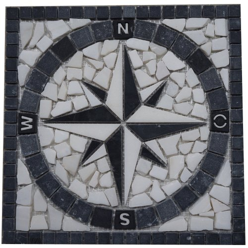 Marble mosaic square medallion tile 30x30 cm Compass Black and White