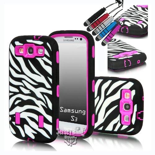 Jersey Bling (TM) Zebra Combo 3Stück Hard Soft High Impact Defender Armor Hülle für Samsung Galaxy S3I9300mit Gratis Mini Metallic Stylus in Pink Lila Oder Blau, Zebra with Pink Zebra Hard Snap