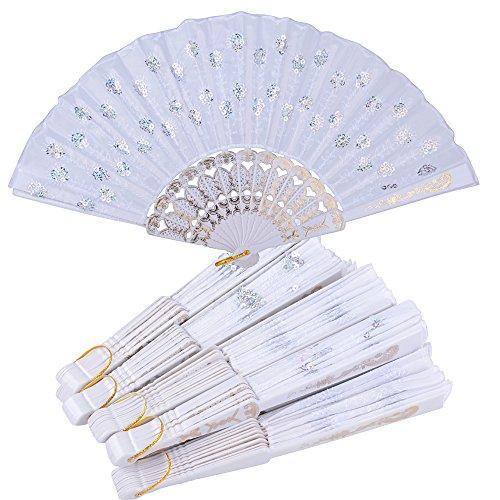 10pcs Abanicos Plegables Blancos de Plástico Tela Regalos Recuerdos Detalles para Invitados...