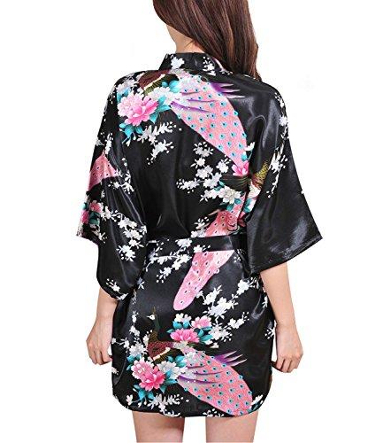 Femmes Kimono Robes Courtes Pour De Demoiselle D'honneur Peacock Et Fleurs De Soie Stain Pyjamas Noir