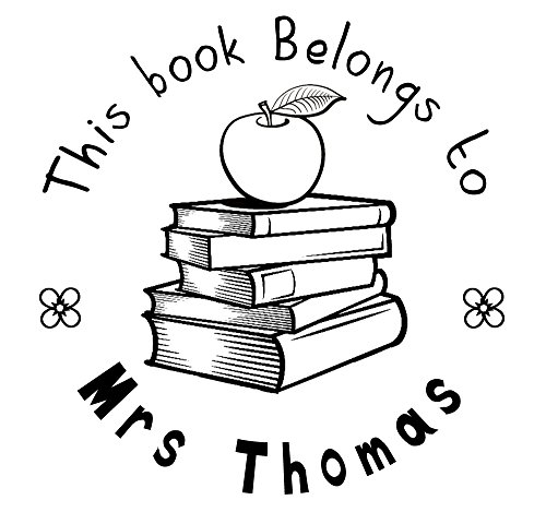 This book belongs to stamp apple book design Custom teacher name text Self inking return address business personalized name pre ink round stamp 1.5