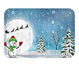 VICKKY Doormat Christmcoration Set Jolly Snowman Under Full Moon Waving to Santa and Reindeer SleighKidBathroom Accessorie Extralong White Blue 23.6 W X 15.7 W Inches