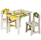 Unbekannt 3 TLG. Set: Sitzgruppe für Kinder - aus sehr stabilen Holz - weiß -  lustige Eulen auf dem AST  - incl. Name - Tisch + 2 Stühle / Kindermöbel für Jungen & M..