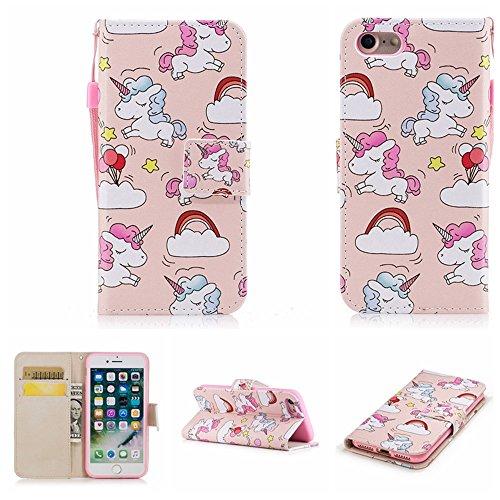 Ooboom® iPhone 5SE Custodia Flip in Pelle PU Cuoio Copertura Protettiva Case Cover Wallet Portafoglio Supporto Stand per iPhone 5SE - Stelle Cavallo