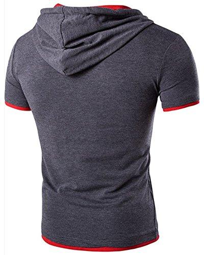 Poloshirt Hemd Herren Kurzarm Slimfit Polo Hoodie Hooded T-Shirt Rot Grau