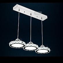 CAIJUN Lámpara colgante LXSEHN Cristal De LED Post-moderno Restaurante Sala De Estar Dormitorio Mesa De Comedor Candelabro Lámpara De Techo Colgante Lámpara Colgante lámpara techo ( Color : 3 Lamp#A , Tamaño : Luz blanca )