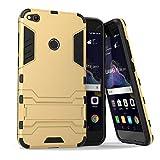 MaxKu Huawei P8 lite Hülle, Safe-Grip Outdoor Case Schutzhülle Kickstand 2in1 Hülle für Huawei P8 lite. Gold