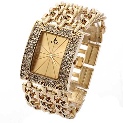 Sheli Frauen Groß Modisch Edelstahl Gold Armbanduhren für Damen