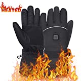 Beheizte Handschuhe enthält 7,4 V Li-Ion Akku, wiederaufladbare Camping Handwärmer Männer Frau Handschuhe für kalte Winter, perfekt für Snowboarding, Shredding, Schaufeln, Schneebälle, Reiten, Klettern, Jagd (Black L)