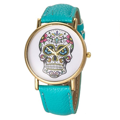 banduhr Damen-Uhr Herren-Uhr, Analog Display, Quarzwerk, Totenkopf Skull Sugar Candy Mexico Candyskull Sugarskull Pirat Kostüm (Blaue Piraten Mädchen Kostüme)
