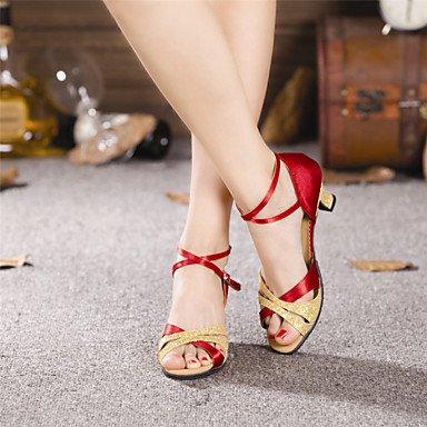 XIAMUO Nicht anpassbare Damen Tanzschuhe Latein Satin/Paillette Cuban Heel mehr Farben Silber