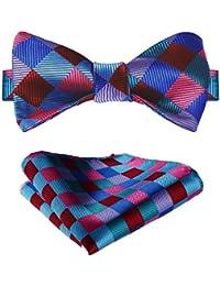 Hisdern Hombres Clasico Self Bow Corbata & Plaza de bolsillo Set Fiesta de bodas Accesorios 01NNbHQegm