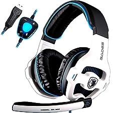 SADES SA903 gaming headset 7.1 virtual surround sound USB gaming con microfono noise cancelling gaming cuffie intelligente luce LED per PC portatile Mac (white)