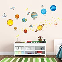 Decowall DW-1307 Planetas en el Espacio Vinilo Pegatinas Decorativas Adhesiva Pared Dormitorio Salón Guardería Habitación Infantiles Niños Bebés