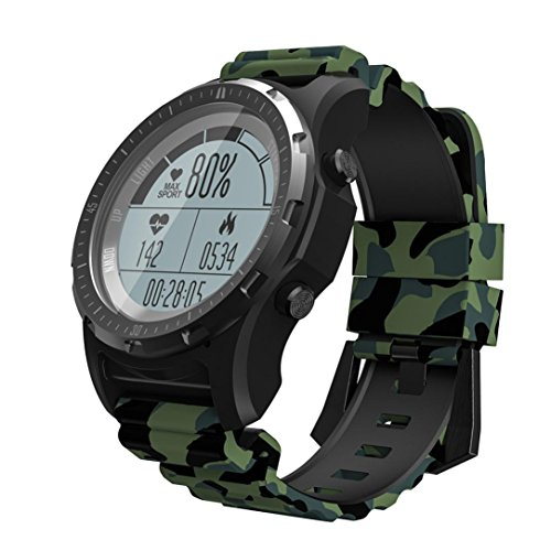 Ears S966 Smart Herrenuhr GPS Pulsmesser Fitness Tracker Uhr Waterproof Activity Tracker Portable Smart Bracelet Fitnessuhr Armbanduhr Damen Herren Smartwatch mit Aktivitäts Heart Rate (Grün)