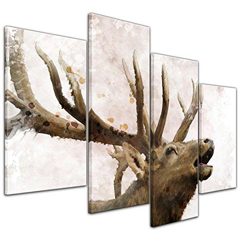 Leinwandbild Kunstdruck Reproduktion Aquarell 'Hirsch' Bild auf Leinwand 120 x 80 cm vierteilig - Leinwandbilder - Bilder als Leinwanddruck - Wandbild von Bilderdepot24 - Tierwelten - Malerei - Geweih - Wild - röhrender Hirsch