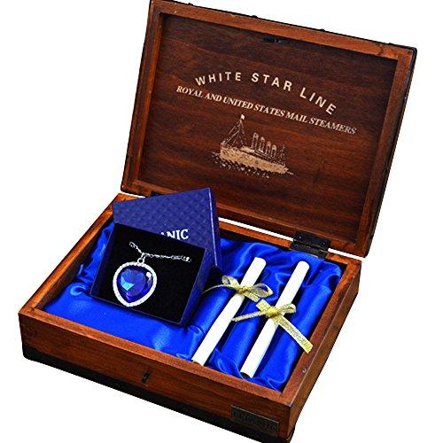 Buythem Titanic Corazón del Mar, Collar con Colgante de cristal, caja de madera, regalo