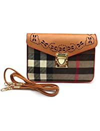 Latest Stylish Leather Matt Finish Check Sling Bag With Removable / Adjustable Leather Shoulder Strap For Ladies...