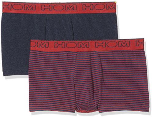 HOM Herren Boxershorts 2er Pack Multicolore (Rayure Rouge-Gris-Bleu/Gris Chiné)