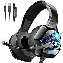 ONIKUMA PS4 Headset, Gaming Headset mit Mic PS3 Headset Gaming Kopfhörer für PC Xbox One 360 Headset Nicht Enthalten Adapter