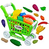 FI - FLICK IN Pretend Play Mini Push & Pull Fruit Vegetable Supermarket Shopping Cart Trolley Kitchen Playset for Kids