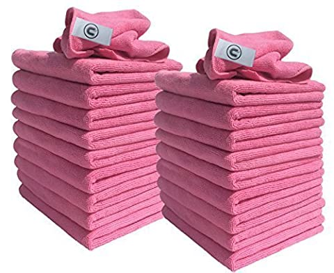 Microfibre Cloths - Pack of 20 Cloths - Large 40cm x 40cm - Pink - Great for Cleaning Cars, Boats, Kitchens, bathrooms, mirrors etc. Contract Quality Trusted by cleaning professionals- Discounted Cleaning Supplies Everyday Requirement Range