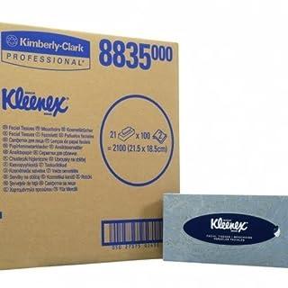 Kleenex 8835 Facial Tissue Box, White, Two Ply Sheets, 21 boxes x 100