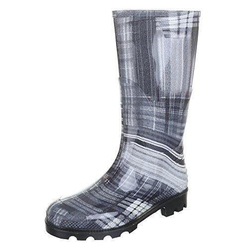 Damen Schuhe, GST-F901P, REGENSTIEFEL GUMMISTIEFEL Grau Weiß 23