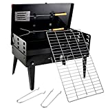 Inditradition Briefcase Style Portable Charcoal BBQ Barbecue, with Chrome Grill & Cooking Tools, Black