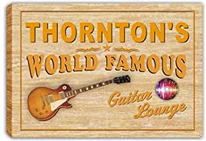 scpf1-1354 THORNTON'S World Famous Guitar Lounge Stretched Canvas Print Sign