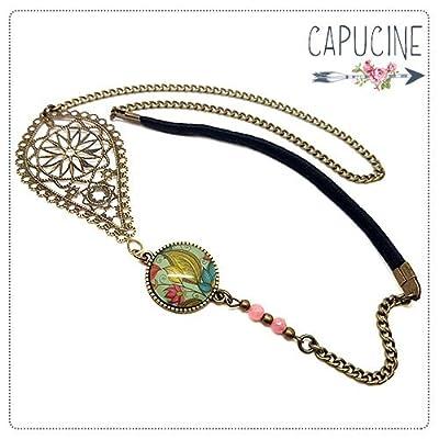 Headband avec Cabochon Verre Fleurs Turquoise, Jaune et Rose, Estampe et Chaîne Bronze, Accessoire Cheveux avec Élastique