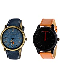Kajaru KJR-11,13 Round Black Dial Analog Watch Combo For Men (Pack Of 2)