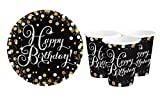 Feste Feiern Geburtstagsdeko Ohne Zahl I 16 Teile Becher Teller Gold Schwarz Silber Party Deko Set Happy Birthday