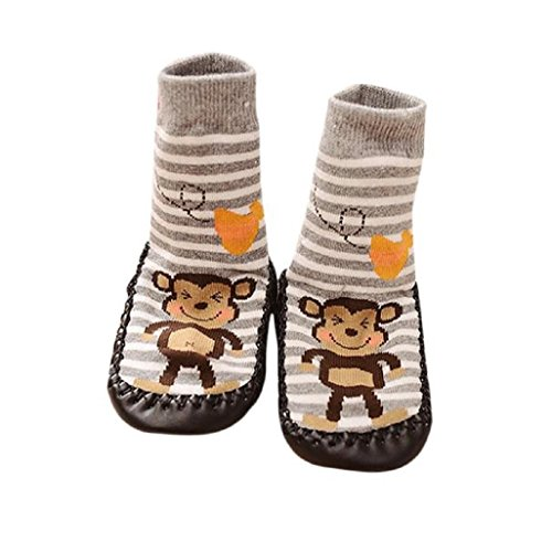 Vovotrade® Baby Boys Girls Kids Cute Cartoon Monkey Toddler Anti-slip Sock Shoes Boots Slipper Socks Age 0-6 18 24 months Gray (6-18 months)