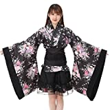 Frauen Cosplay Lolita Japan Yukata Kimono Kostüm Cosplay Set Blumen Kleid Maid Top Rock Set Cosplay Kawaii Story Kostüm (L)