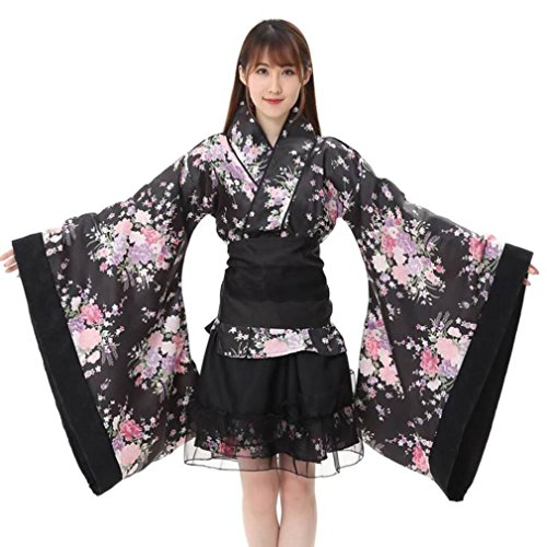 Frauen Cosplay Lolita Japan Yukata Kimono Kostüm Cosplay Set Blumen Kleid Maid Top Rock Set Cosplay Kawaii Story Kostüm (XL)