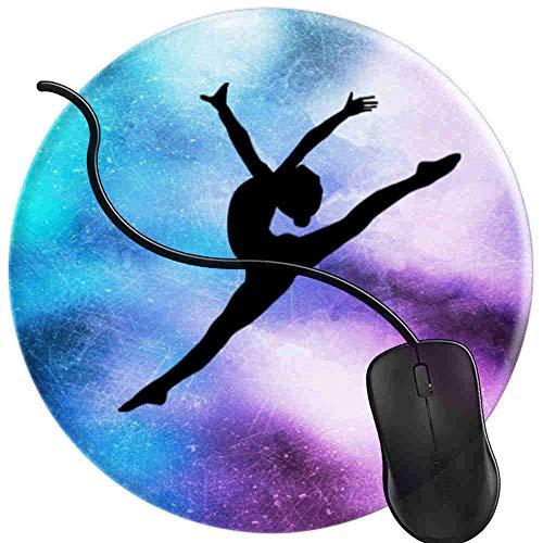 Gaming Mauspad Runde Gymnast Silhouette Aerial Pose Oberfläche verbessert Geschwindigkeit und Präzision rutschfest Mouse Pad 2T2872