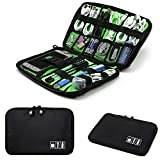 #5: Rosette Travel Cable Organizer Portable Electronics Accessories Cases for Hard Drives, Charging Cords, USB Charger, Fluorescent - Black