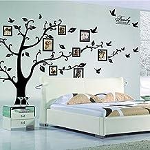 lisdripe gran pared adhesivo extraíble DIY marco de fotos árbol decoración de la casa arte vinilo negro