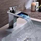 Waschbecken Wasserhahn Wasserfall mit LED-Licht Ein Griff Armatur