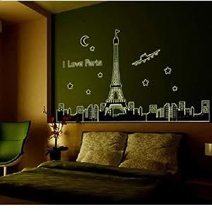 Paris Tour Eiffel fluorescent Stickers muraux amovibles