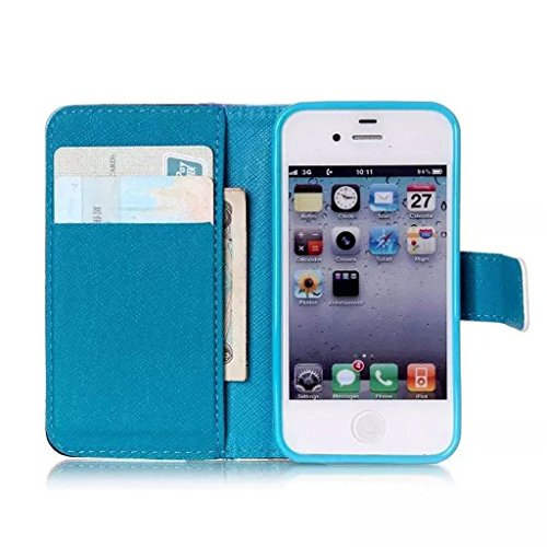 Gift_Source iPhone 4 hülle, iPhone 4S hülle, Brieftasche Ledertasche Bookstyle Schutzhülle Leder Flip case Etui für Apple iPhone 4/4S [ Eat Glitter Breakfast and Shine All Day ] E01-01-Dandelion