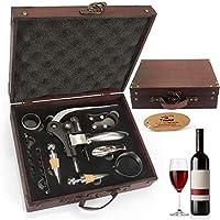 Juego de accesorios para vino Yobansa con caja de madera envejecida, juego para regalo,