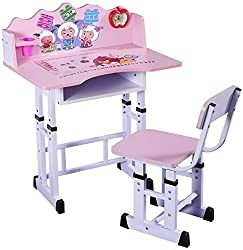 Furncoms Study Table and Chair for Kids (Matt Finish, Pink)