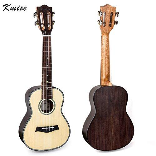 Kmise Konzert-Ukulele mit klassischem Gitarrenkopf, ca. 58 cm mit 18er Griffleiste für Musikliebhaber Solid Spruce