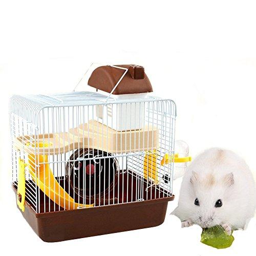 Hamster Käfig, CRITTERTRAIL Spielzeug 2Level Lebensraum Habitrail Cristal Pet Käfig für Hamster/GERBIL/Maus mit Folien, FEED Basis, Laufrad, Treppen, Innenraumfilter Wasserkocher,...